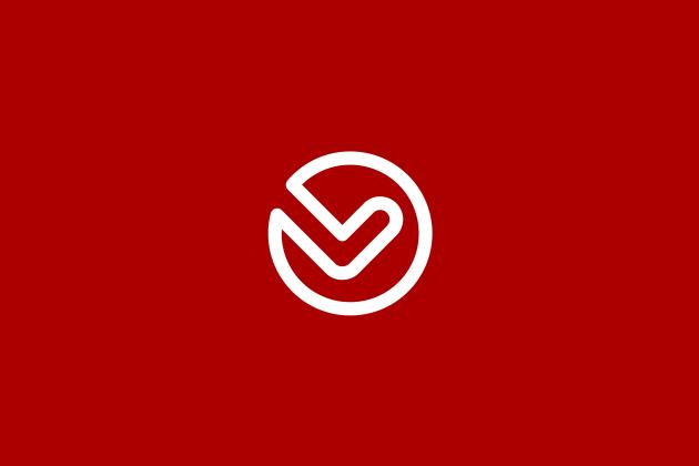 Checkback Mark Red Background